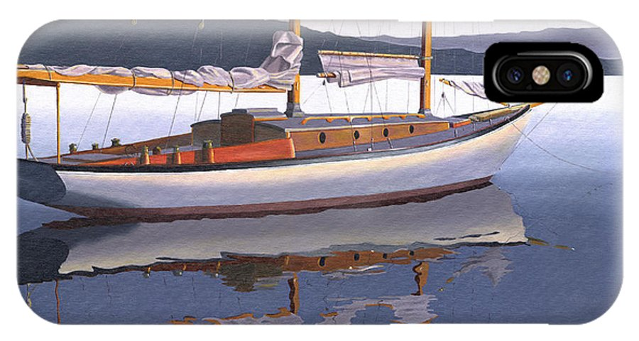 Schooner IPhone X Case featuring the painting Schooner at dusk by Gary Giacomelli