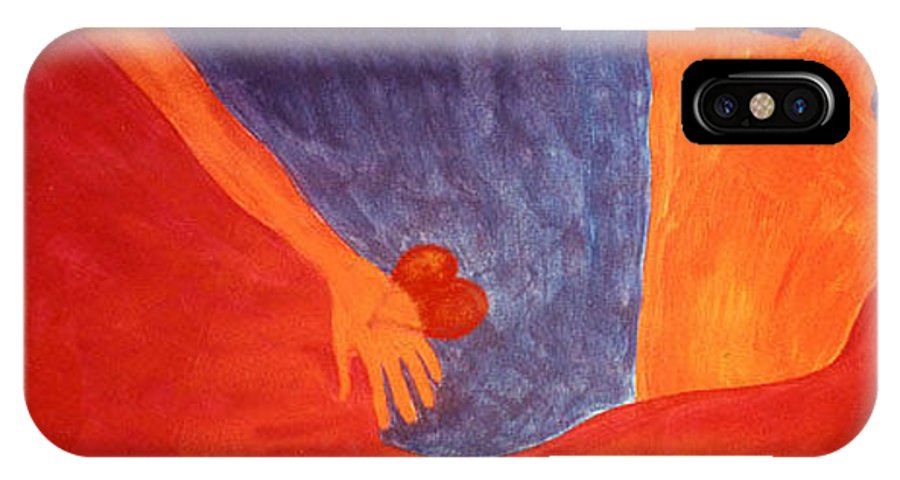 Figure IPhone X Case featuring the painting Separation by Ingrid Torjesen
