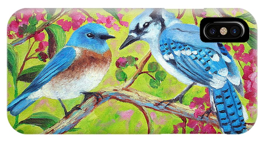 Birds IPhone X Case featuring the painting Sharing A Branch by David G Paul