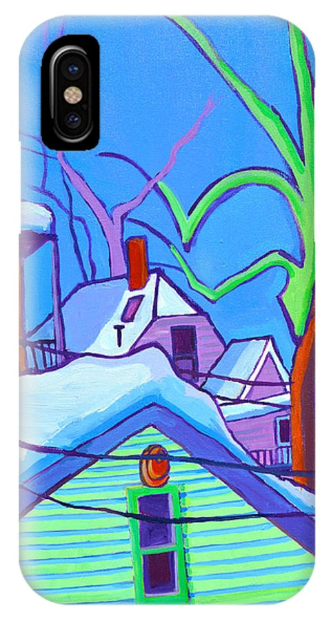 Buildings IPhone X Case featuring the painting Sheffield Winter by Debra Bretton Robinson