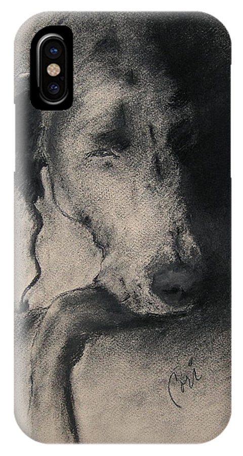 Weimaraner IPhone X Case featuring the drawing Silhouette by Cori Solomon