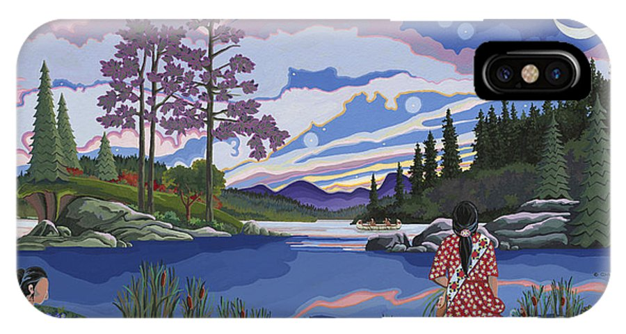 Native Americanartwork IPhone X Case featuring the painting Sisters Wildcrafting At Dawn by Chholing Taha