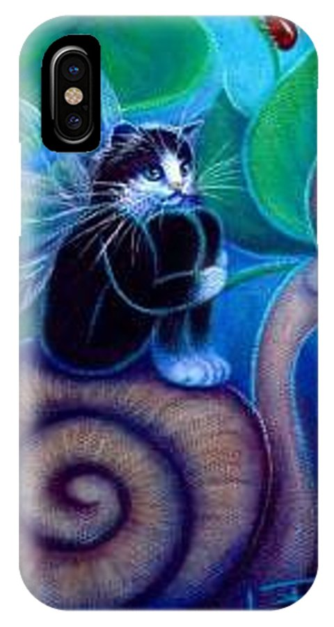 Whimsy IPhone X Case featuring the painting Slow Ride Through Life by L Risor