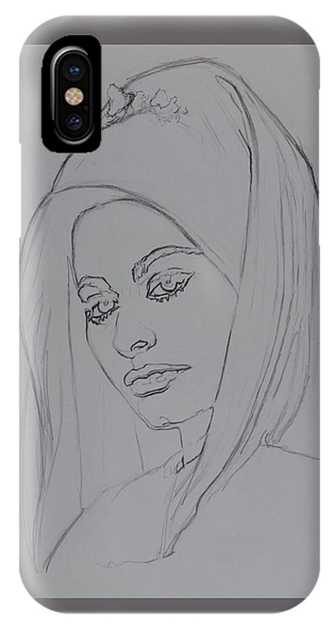 Woman IPhone X Case featuring the drawing Sophia Loren In Headdress by Sean Connolly