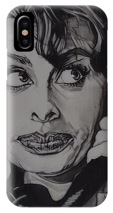 Charcoal On Paper IPhone X Case featuring the drawing Sophia Loren Telephones by Sean Connolly