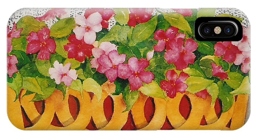 Impatients IPhone X Case featuring the painting St. Anton Windowbox by Mary Ellen Mueller Legault