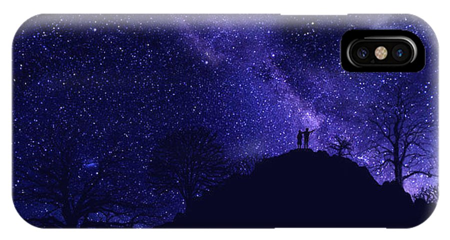 Starry Couple IPhone X Case featuring the painting Starry Couple Pointing Mural by Frank Wilson