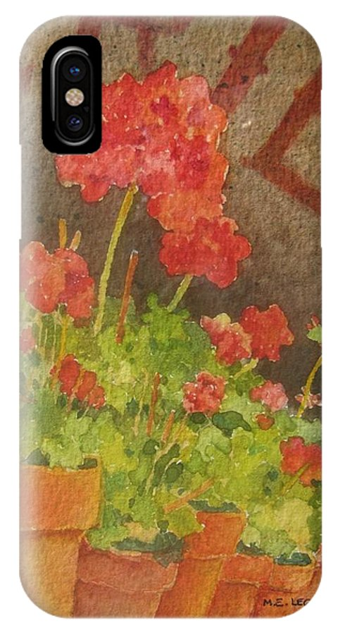 Geraniums IPhone X Case featuring the painting Summers End by Mary Ellen Mueller Legault