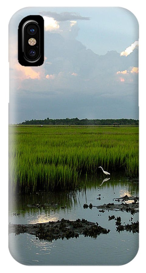 Egret IPhone X Case featuring the photograph Summertime Marsh by Suzanne Gaff