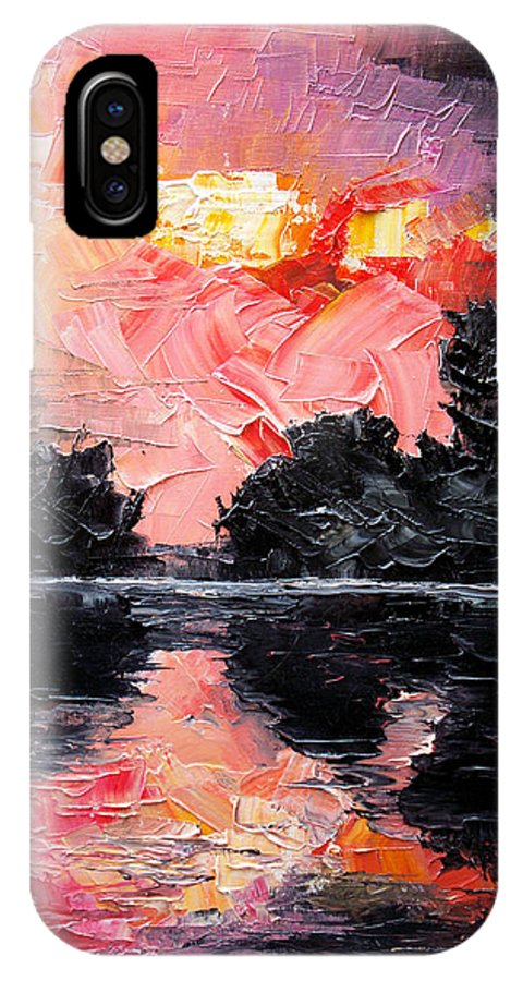Lake After Storm IPhone X Case featuring the painting Sunset. After storm. by Sergey Bezhinets