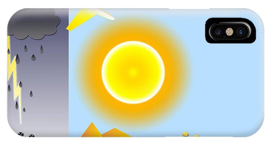 Sun IPhone X Case featuring the digital art Sunshine and Rain by Muirhead Gallery