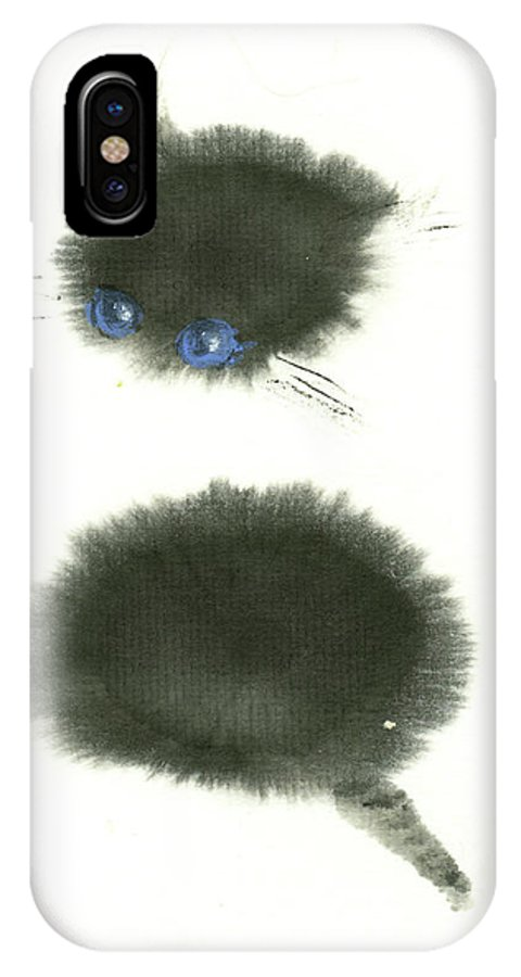 A Black Little Kitten Has A Big Surprise. This Is A Simple Contemporary Chinese Brush Painting On Rice Paper. IPhone X Case featuring the painting Surprised by Mui-Joo Wee