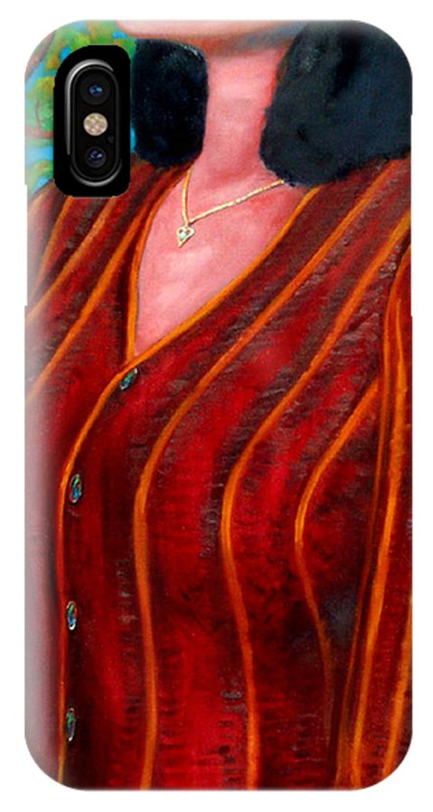 Figure IPhone X Case featuring the painting Sweater Weather by T Ezell