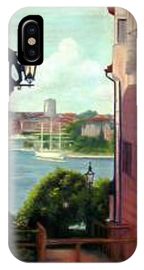Whimsy IPhone X Case featuring the painting Sweden Ship Vasa Street View by L Risor