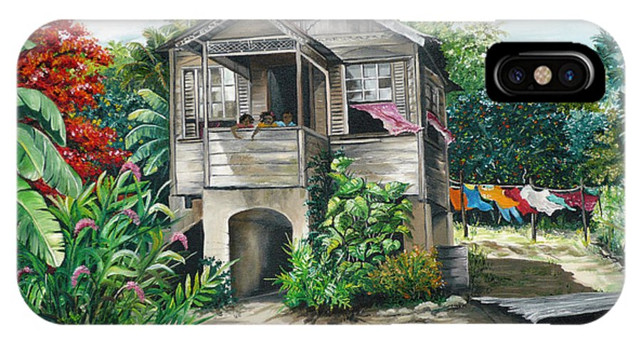 Landscape Painting Caribbean Painting House Painting Tobago Painting Trinidad Painting Tropical Painting Flamboyant Painting Banana Painting Trees Painting Original Painting Of Typical Country House In Trinidad And Tobago IPhone X Case featuring the painting Sweet Island Life by Karin Dawn Kelshall- Best