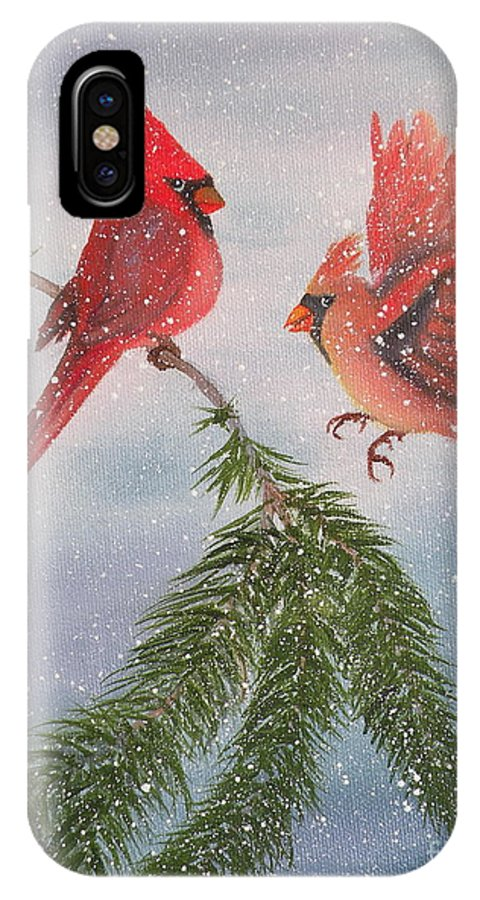 Cardinals IPhone X Case featuring the painting Sweet Pair of Cardinals by Lora Duguay