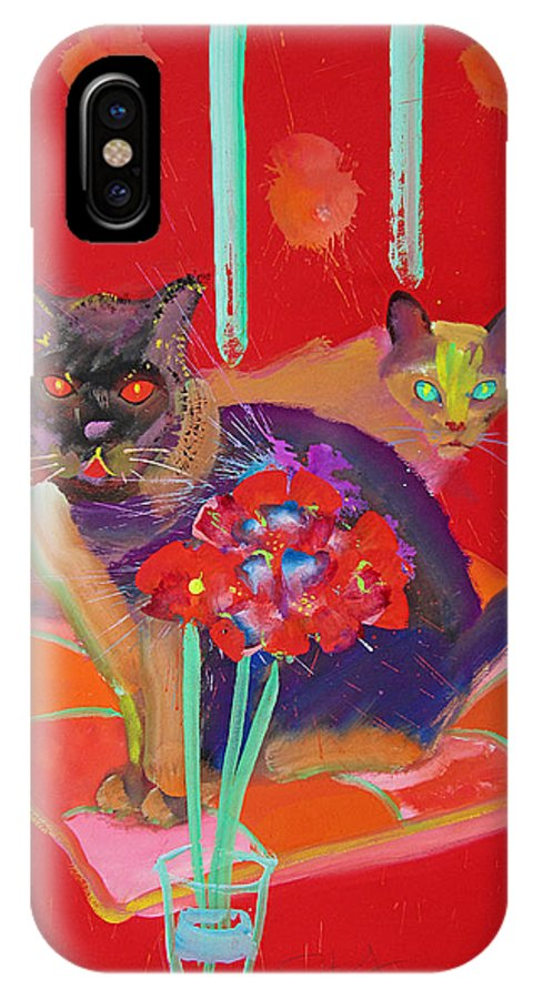 Burmese Cat IPhone X Case featuring the painting Symphony In Red Two by Charles Stuart