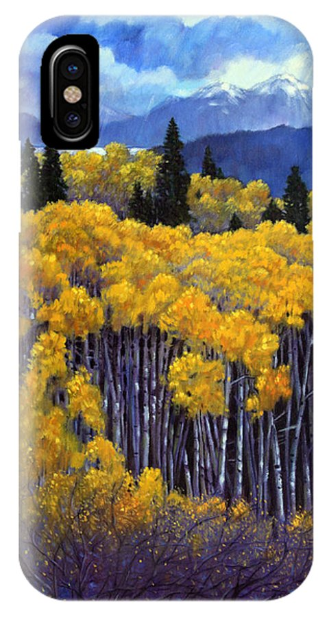 Snow Clouds Over Rocky Mountains IPhone X Case featuring the painting Tall Aspens by John Lautermilch