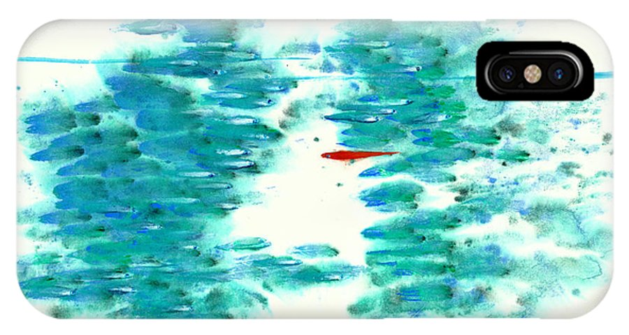 An Adventurous Red Fish Swims Among The Mundane. This Is A Contemporary Chinese Ink And Watercolor On Rice Paper Painting. IPhone X Case featuring the painting The Outlier by Mui-Joo Wee