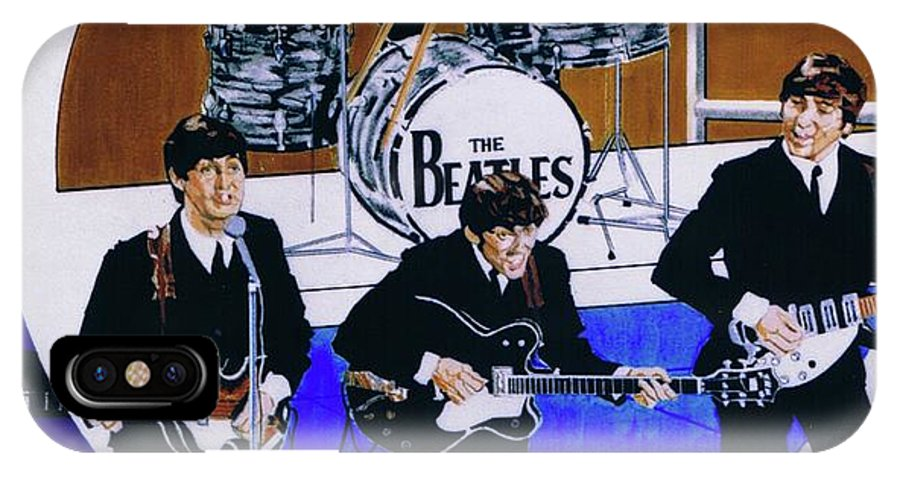 The Beatles Live IPhone X Case featuring the drawing The Beatles - Live On The Ed Sullivan Show by Sean Connolly