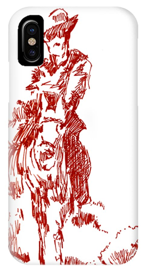 The Big Sky Rider IPhone X Case featuring the drawing The Big Sky Rider by Seth Weaver
