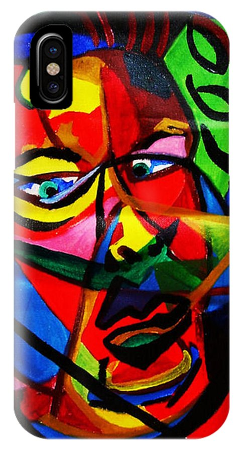 Man IPhone X Case featuring the painting The Confused Man by Arianne Lequay