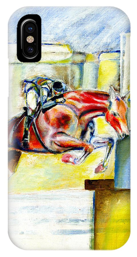 Horse IPhone X Case featuring the painting The Equestrian Horse and Rider by Tom Conway