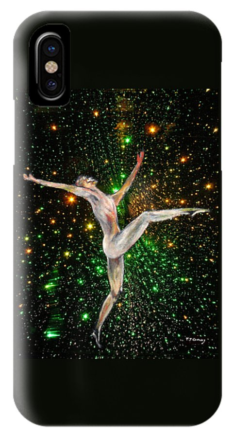 Dance IPhone X Case featuring the painting The Light Fantastic Dance and Stars by Tom Conway