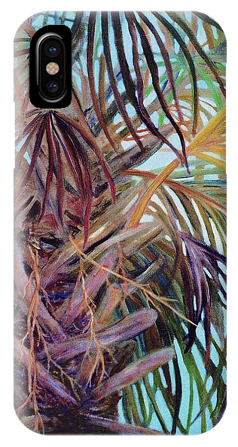 Palm Tree IPhone X Case featuring the painting The Palm by Ben Kiger