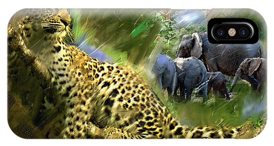 Leopard Art Painting IPhone X Case featuring the painting The Road To Noah's Ark by Ted Azriel