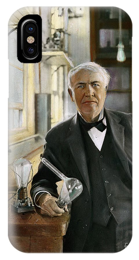 1915 IPhone X Case featuring the photograph Thomas Edison by Granger