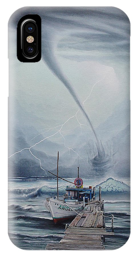 Seascape IPhone X Case featuring the painting Tifon   water sprout by Angel Ortiz