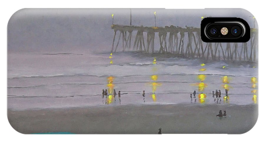 Evening IPhone X Case featuring the painting Tower Number Seven Evening by Philip Fleischer