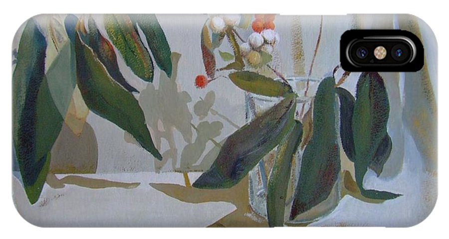 Still Life IPhone X Case featuring the painting Two green branches by Elena Oleniuc