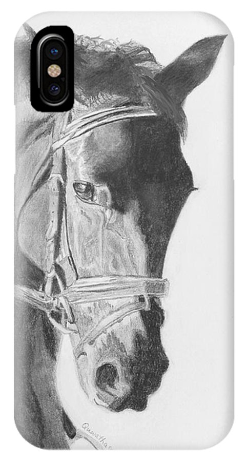 Horse IPhone X Case featuring the drawing Tyberius by Quwatha Valentine