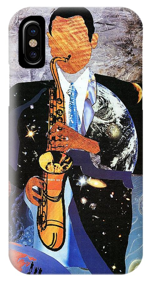 Everett Spruill IPhone X Case featuring the painting Universal Sax by Everett Spruill