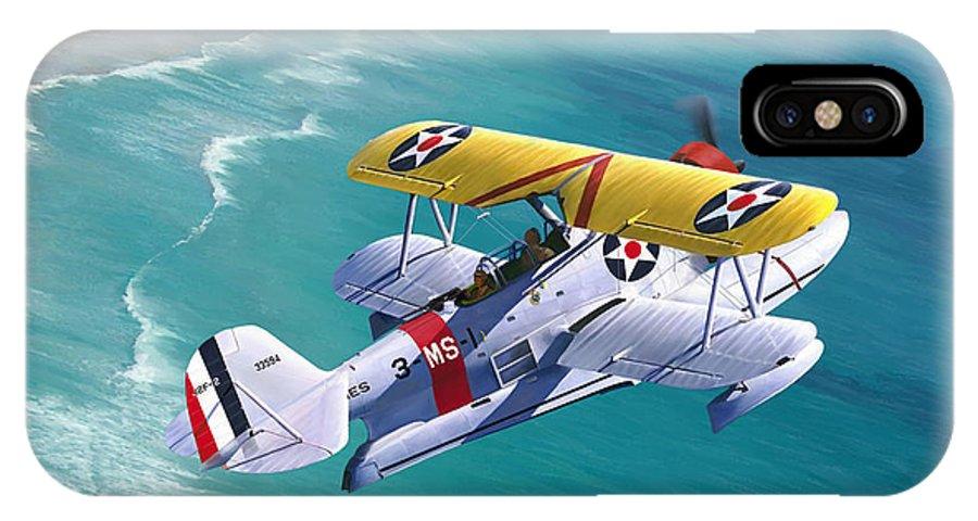 Aviation IPhone X Case featuring the painting Unsung Hero - Grumman J2F Duck by Mark Karvon