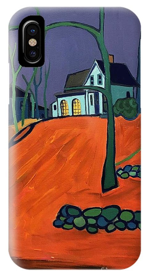 Houses On A Hill IPhone X Case featuring the painting Up Above Dunstable by Debra Bretton Robinson