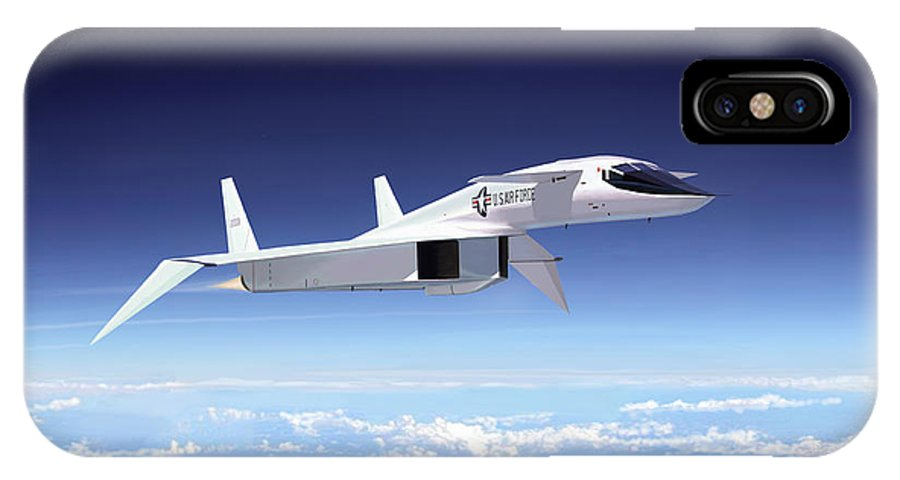 Aviation IPhone X Case featuring the painting Valkyrie - Mach 3 At 70000 Feet by Mark Karvon