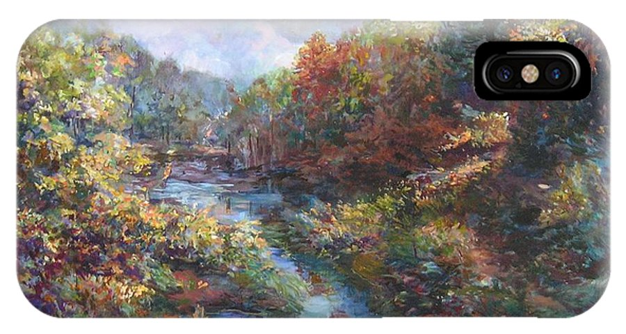 Impressionist Landscape IPhone X Case featuring the painting View from a Distance by Denise Ivey Telep