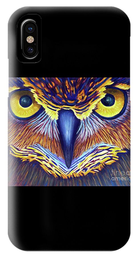 Owl IPhone X Case featuring the painting Watching by Brian Commerford