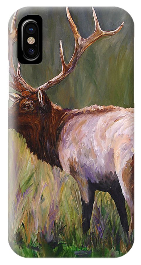 Elk Wildlife Art IPhone X Case featuring the painting Whapiti - ELK Now Avaliable by Mary Jo Zorad