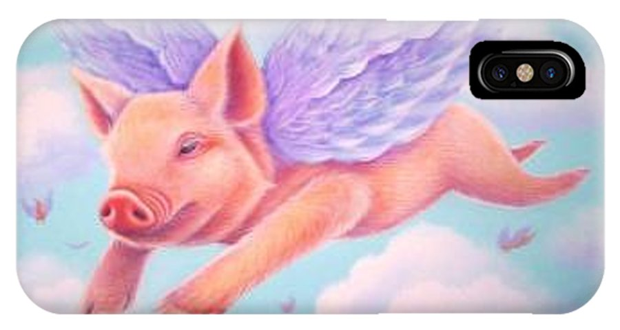 Whimsy IPhone X Case featuring the painting When Pigs Fly by L Risor