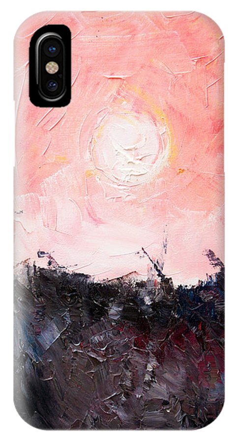 Duck IPhone X Case featuring the painting White Sun by Sergey Bezhinets