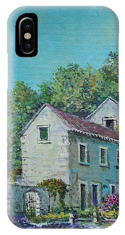 Original Painting IPhone X Case featuring the painting Village Vista by Sinisa Saratlic