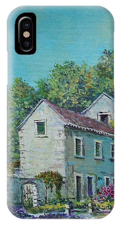 Original Painting IPhone X Case featuring the painting Village Vista by Sinisa Saratlic