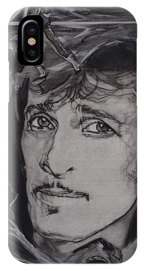 Charcoal On Paper IPhone X Case featuring the drawing Willy DeVille - Coup de Grace by Sean Connolly
