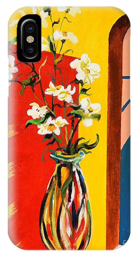 Still Life IPhone X Case featuring the painting Window by Sinisa Saratlic