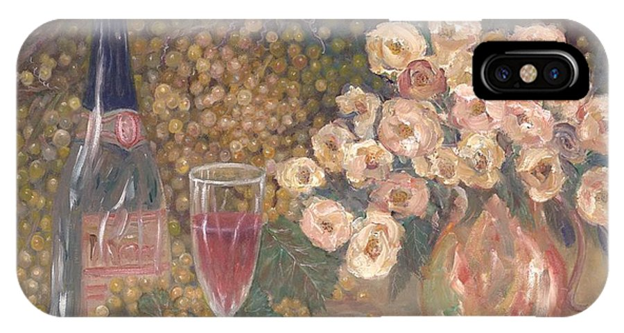 Stilllife; Floral; Wine IPhone X Case featuring the painting Wine And Roses by Ben Kiger