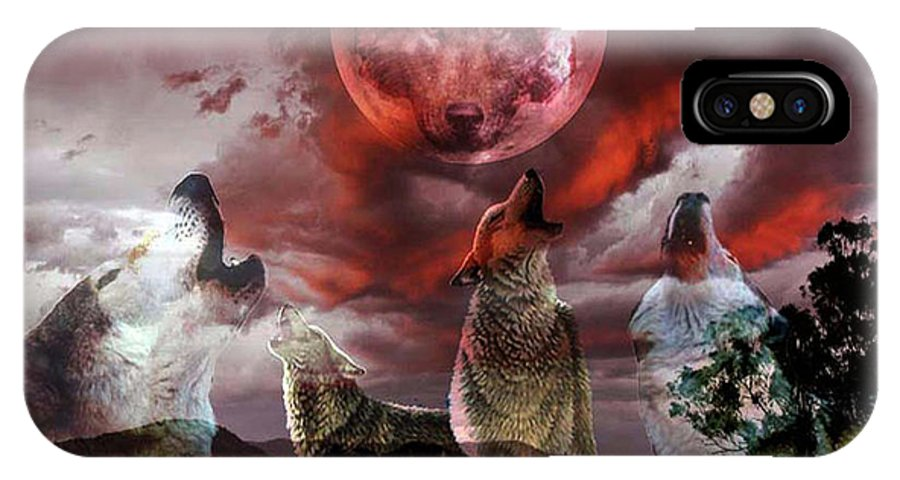 Wolfs IPhone X Case featuring the digital art Wolf Moon by Evelyn Patrick